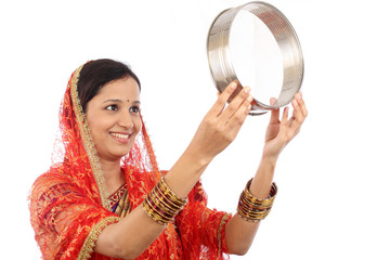 Young Indian woman celebrating Karva chauth festival