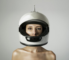 The girl in the white helmet