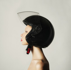 Girl in a helmet