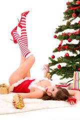 Junge sexy Weihnachtsfrau