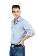 Young cheerful man, portrait of attractive guy over white