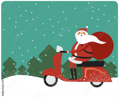 Santa Claus on a scooter