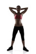 sport woman full length portrait, silhouette studio shot over wh
