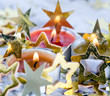 Merry Christmas: Candle light and golden stars