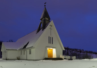 Snow covered church above the polar circle.Tromso,Norway.