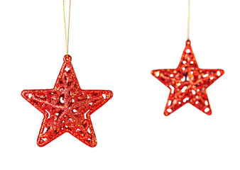 Christmas decoration. Red stars isolated on white background. Se