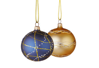 Christmas decoration. Blue and yellow  balls on white background