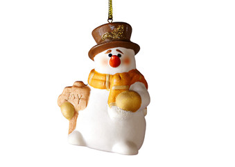 Happy Christmas snowman,on white background. Selective focus