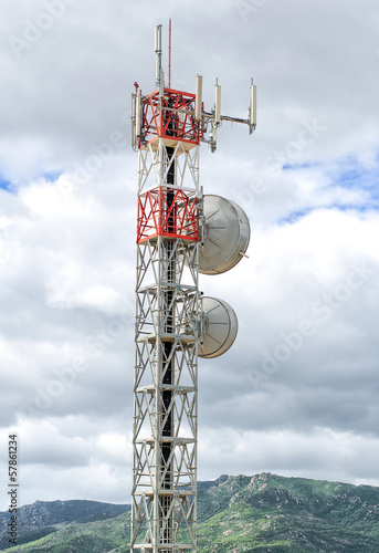 Cellular tower on the mountain hill