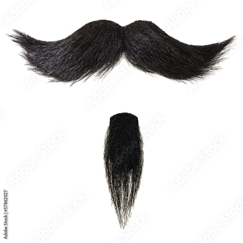 Mustache and goatee beard isolated on white