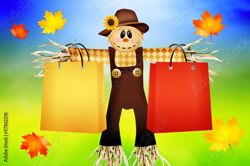 Scarecrow with bags for sale
