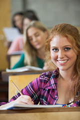 Smiling red head student taking notes in a lecture hall