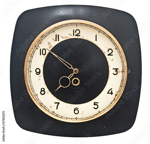 rusty retro wall clock isolated on white background