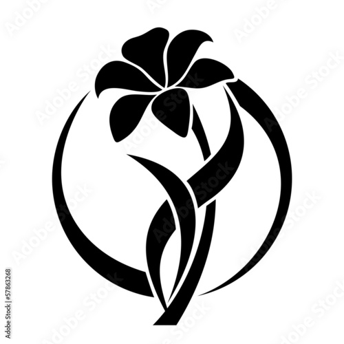 Black silhouette of lily flower. Vector illustration.