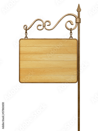 Old wooden signboard. Isolated on white
