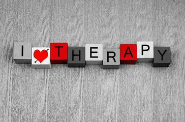 I Love Therapy - fun health care sign for therapists, psychology