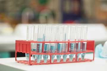 Test tubes in rack containing blue liquid