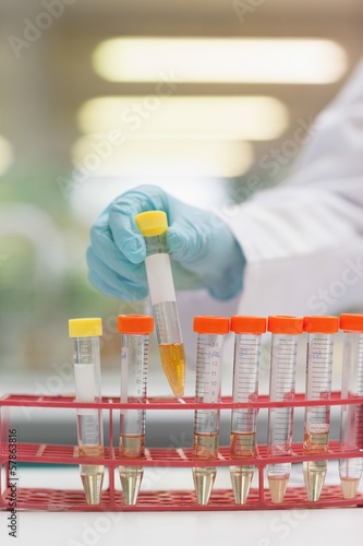 Close up of hand in rubber gloves placing test tube