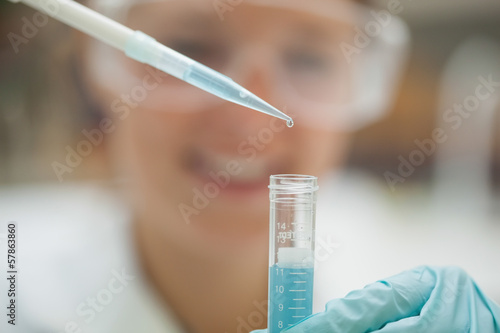 Close up of pipette and test tube