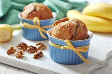 Banana muffins in ceramic baking mold