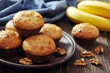 Banana muffins on brown plate