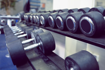 Dumbbells on shelf