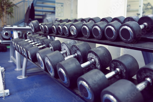 Big dumbbells on shelf