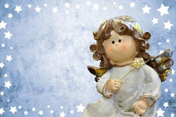 Engel mit blauem Sternenhintergrund