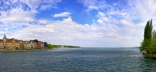 Panoramic view of Bodensee lake and Konstanz, Germany
