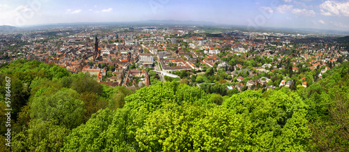 Panoramic view of Freiburg im Breisgau city, Germany