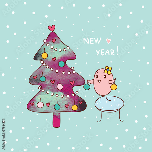 new year and bird