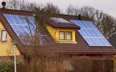 Solar panels on a colorful house