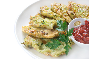 Fried pancakes made of grated zucchini