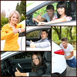 Car driving collage