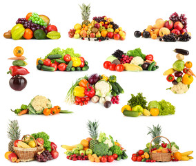 Collage of fruits and vegetables isolated on white