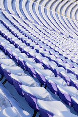Seats are covered by snow