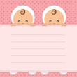 Baby girl twins announcement card.