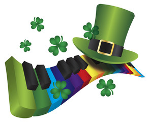 Leprechaun Hat with Rainbow Color Piano Keyboard