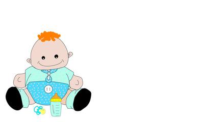 Bebé con biberón y chupete