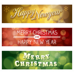 Merry Christmas and Happy New Year Vector Bokeh Background Banne