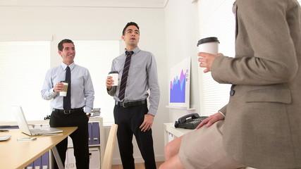 Businessteam happily taking a break