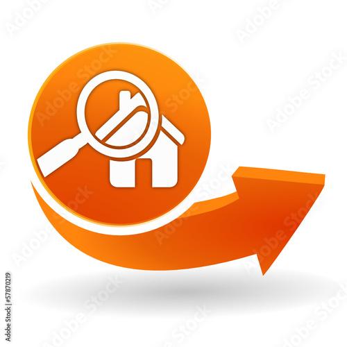diagnostic immobilier sur bouton web orange