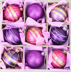 Beautiful packaged Christmas balls, close up