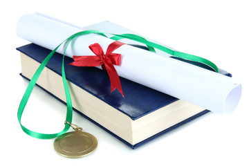 Medal for achievement in education with diploma and book