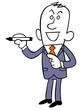 ペンを持って立つビジネスマン
