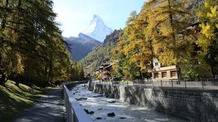 Stunning View Of Matterhorn In Swiss Alps.