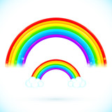 Bright isolated vector rainbows with clouds