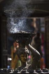 Parvati goddess with burning incens, bronze sculpture
