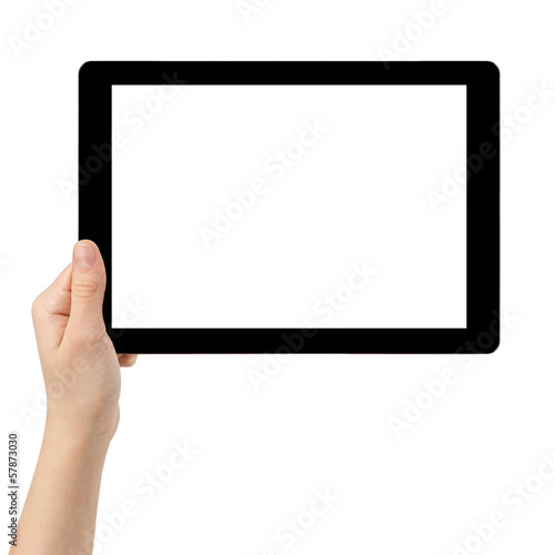 female teen hand using tablet pc with white screen