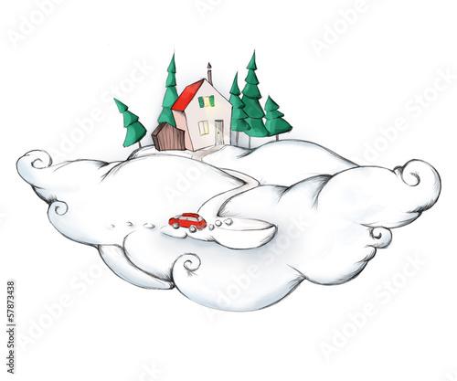 Häuschen auf Wolke